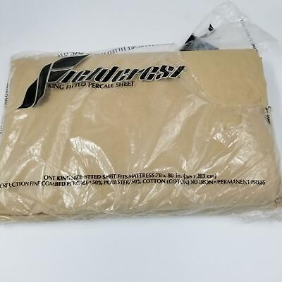Vintage Fieldcrest King Fitted Sheet Tan 180 Thread Count No Iron Percale Sheet
