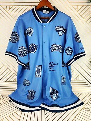 Unique Sport Generation NBA Basketball Teams Embroidered Buttoned Shirt Blue 3X