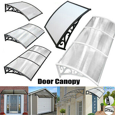 Outdoor Front Door Canopy Awning Shelter Patio Roof Cover White Black 100x300CM