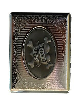 Cigarette metal case silver with metal holders - Cigarette pouch - tobacco