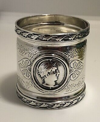 Antique Sterling/Coin Silver Medallion Head Napkin Ring