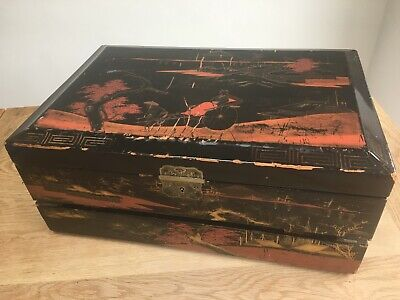 Antique Japanese large black lacquer writing box