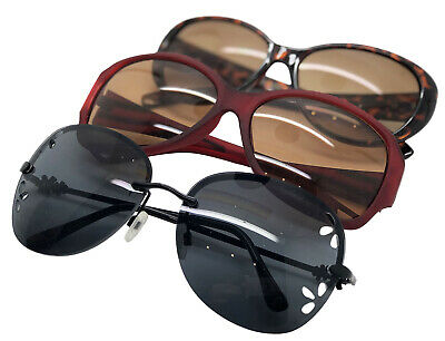 New sunglasses set of 3 oversized designs 1 red 1 tortoiseshell 1 black  Box AH