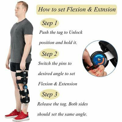e7779d6969 Hinged ROM Knee Brace with Strap, Adjustable Leg Stabilizer Post OP Recovery