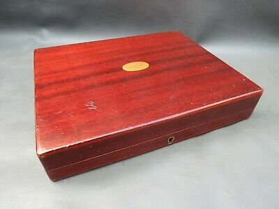 Vintage empty wooden cutlery box with brass cartouche Mappin & Webb