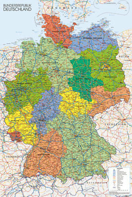 Germany Map  Maps Educational Maxi Poster Print 61x91.5cm | 24x36 inches