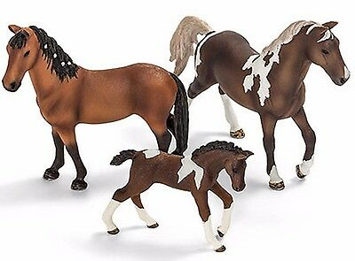 3 x NEW Schleich Pony Horse Club Trakehner Stallion + Mare + Foal - Stable Farm