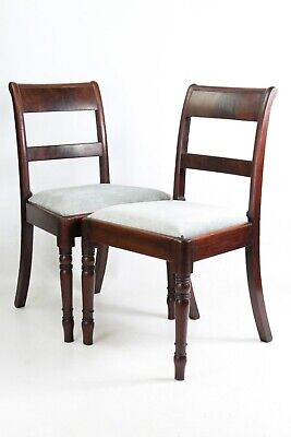 Pair Antique Regency Mahogany Side Chairs - Georgian Dining Kitchen Desk Chair
