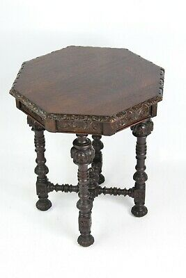 Victorian Gothic Revival Oak Table Edwards & Roberts -Antique Coffee Hall Table