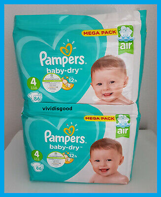 LOT DE 172 (2x86) COUCHES PAMPERS BABY-DRY TAILLE 4 (9-14 kg)