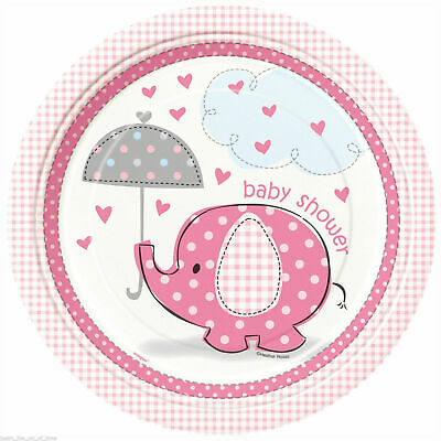 Baby PINK UMBRELLEPHANTS BABY SHOWER Large Plates Party Tableware Birthday Kids