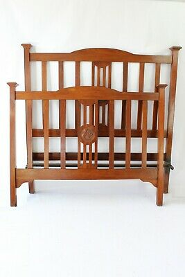 Antique Edwardian Walnut Double Bed - Standard Vintage 4FT6 Vono Bedstead