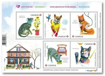 Stamps Canada Love Your Pet Souvenir Sheet  May 2 2015