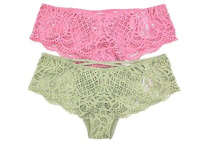 35326145c2c53 VICTORIAS SECRET LOT of 2 VERY SEXY lace-up cheeky panty underwear small  new nwt