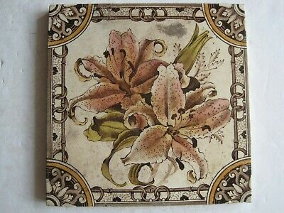 Antique Victorian Print And Tint Wall Tile - Lilies - D.t.b. - C1880-1900