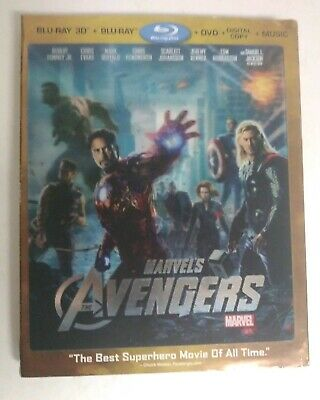 The Avengers 3D + 2D Blu-ray + DVD W/ Lenticular Slipcover - Used - Free Ship!