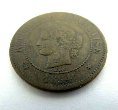 Antique Old Used 1894 Metal Brass Republique Francaise Fraternite French Coin