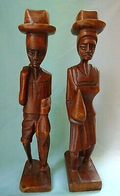 """Vintage Carved Wood Man & Woman In Hats 13"""" Statues"""