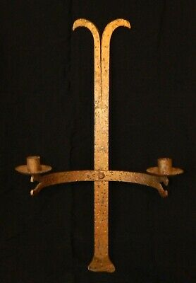 "Large antique gilded hand hammered gothic 2 light sconce candle holder 24"" long"