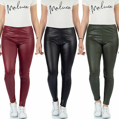 ecff718997548a MALUCAS SPORTS Damen Leder-Look Leggins Yoga Treggings Jeggings Wetlook  Stretch