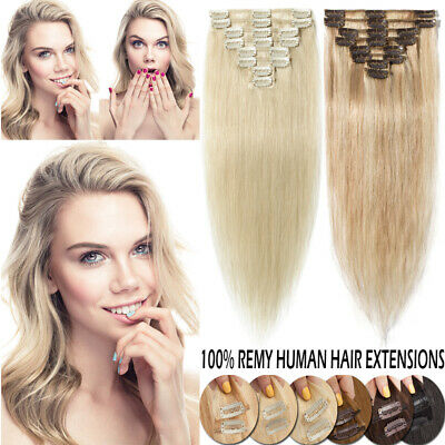 UK ON CLEARANCE Clip IN 100% Real Remy Human Hair Extension Full Head All Color