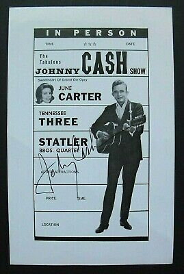 Advertising slick signed by JOHNNY CASH, with COA