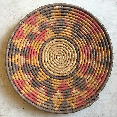 Stunning Old Early Hopi Polychrome Coiled Basket Weave Tray 2nd Mesa
