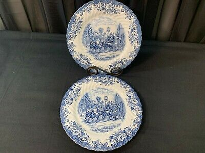 """Johnson Brothers """"COACHING SCENES"""" Blue ~ Set of 2 ~ Dinner Plates ~ 10"""""""