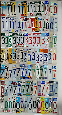 Lot of 100 Cut-up License Plate Numbers 1,3,7,0 for Craft Projects