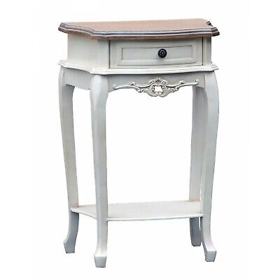 Vintage French Farmhouse Antique White Style Bedside with 1 Drawer Bedroom  New