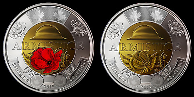 Canada 2018 $2 Toonie Armistice Poppy BU Coloured & Non Color Set! From Roll.