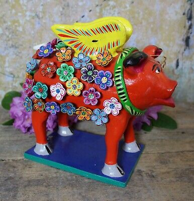 Flying Pig with Spectacles Flower Covered Handmade Clay Mexican Folk Art Ortega