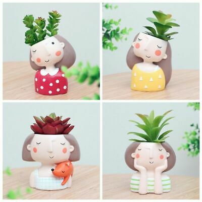 Mini Flowerpot Girl Garden Bonsai Cactus Pot Flower Planter Home Decoration 1x