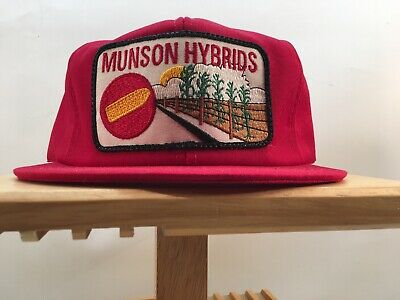 125479ff MUNSON HYBRIDS Vintage Snapback Hat Cap Trucker Farmer K PRODUCTS Made In  USA