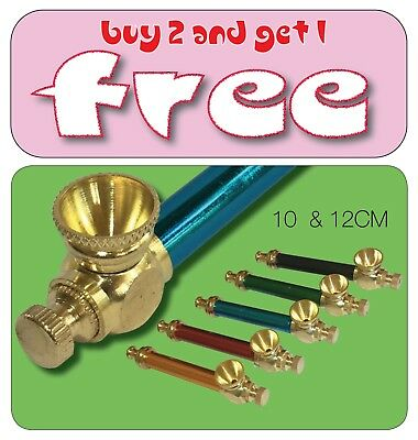 Smoking Pipe with cleaner metal pipe cone piece - brass cone pieces stem Bonza