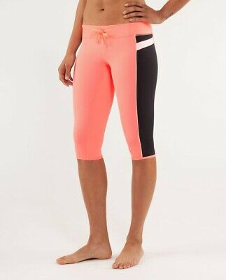 a62a5c0dd19aca Lululemon Heat It Up Crop Pop Orange Capri Pants Athletic Pull On Tights 2