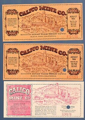 3 Tickets From The Knotts Berry Farm Calico Mine. 2 Adult And 1 Child