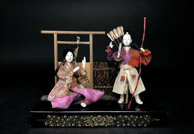 2 Antique GOFUN Japanese Dolls MUSHA Warrior & Princess NINGYO from 1933