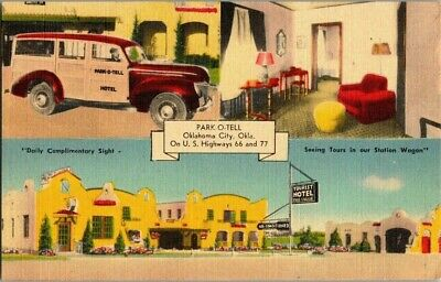 1940'S. Route 66, Park-O-Tell Oklahoma City, Ok. Postcard Db21