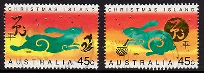 1999 Christmas Island Lunar New Year of the Rabbit Fine Used Pair