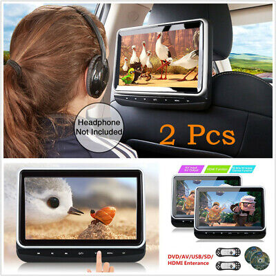 2 Pcs 10.1'' HD Car Headrest DVD Player Digital Monitor Touch Buttons With HDMI