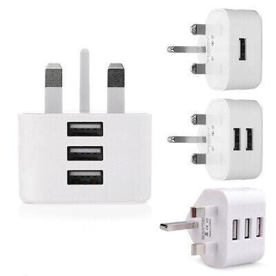1/2/3 USB Port 3 Pin UK Plug Charger Adapter 5V 2.1A for Various USB devices