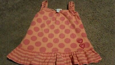 Girl's Naartjie Kids Small Peach/Pink Polka Dot Tank Top Tunic Size S. 4 Yrs