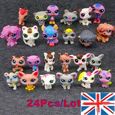 24 Pcs Lot Rare Littlest Pet Shop LPS Figure Collection Cat Dog Kids Toy Gifts