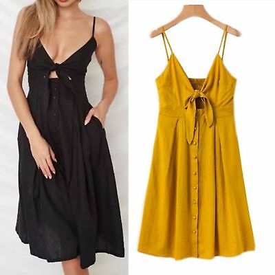 3bce2253 4 Color Vtg Summer Blogger Fav Front Knotted Strap Midi Dress With Button  Detail