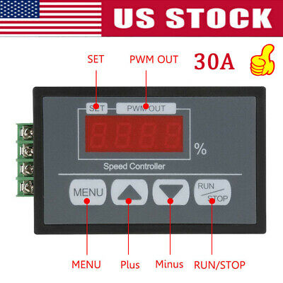 DC Motor Speed Governor 6-60V PWM Module 30A Digital Controller Switch Display A
