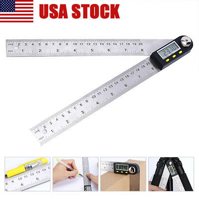 "8"" Electronic Digital Angle Finder Meter Protractor Goniometer Measuring Ruler A"