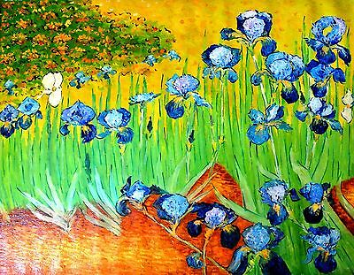 "Tom L-""Irises"" (After Vincent van Gogh)-Oil Painting/Canvas/Hand Signed/48""x 36"""