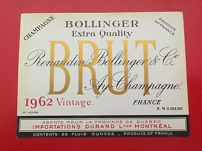 1 étiquette / wine label RENAUDIN BOLLINGER 1962 Montreal Canada - Champagne