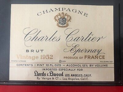 1 étiquette / wine label CHAMPAGNE Charles Cartier 1952 - à Epernay - USA